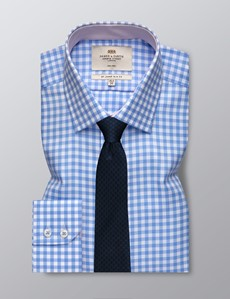 Bügelfreies Businesshemd – Slim Fit – Kentkragen – blau-weiß Gingham Karo