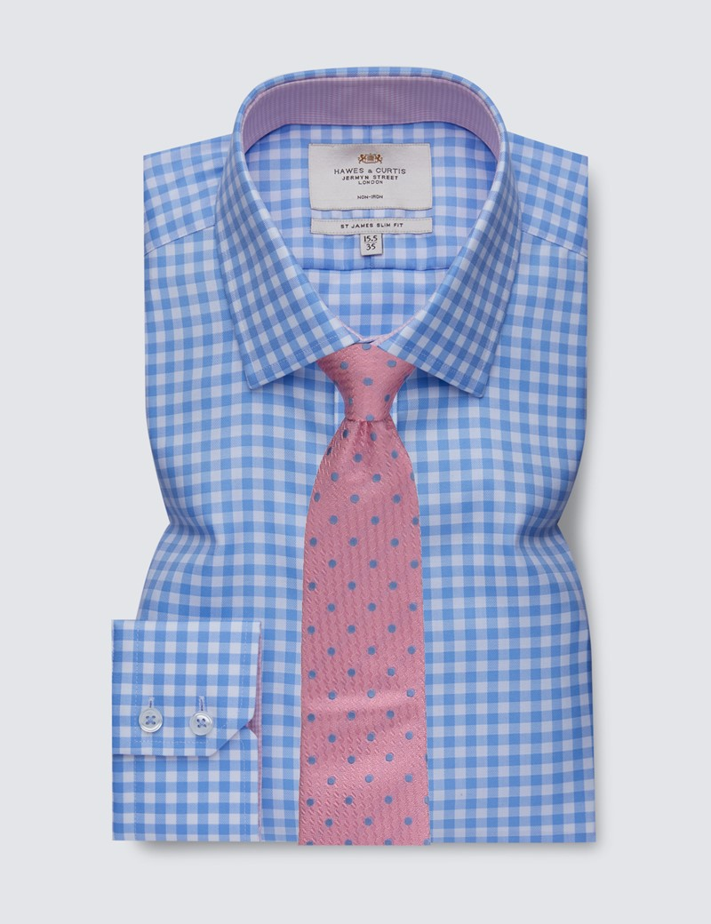 Men's Formal Blue & White Large Gingham Slim Fit Shirt with Contrast Detail - Single Cuff - Non Iron