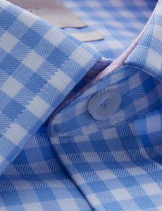 Men's Dress Blue & White Large Gingham Plaid Slim Fit Shirt with Contrast Detail - Single Cuff - Non Iron