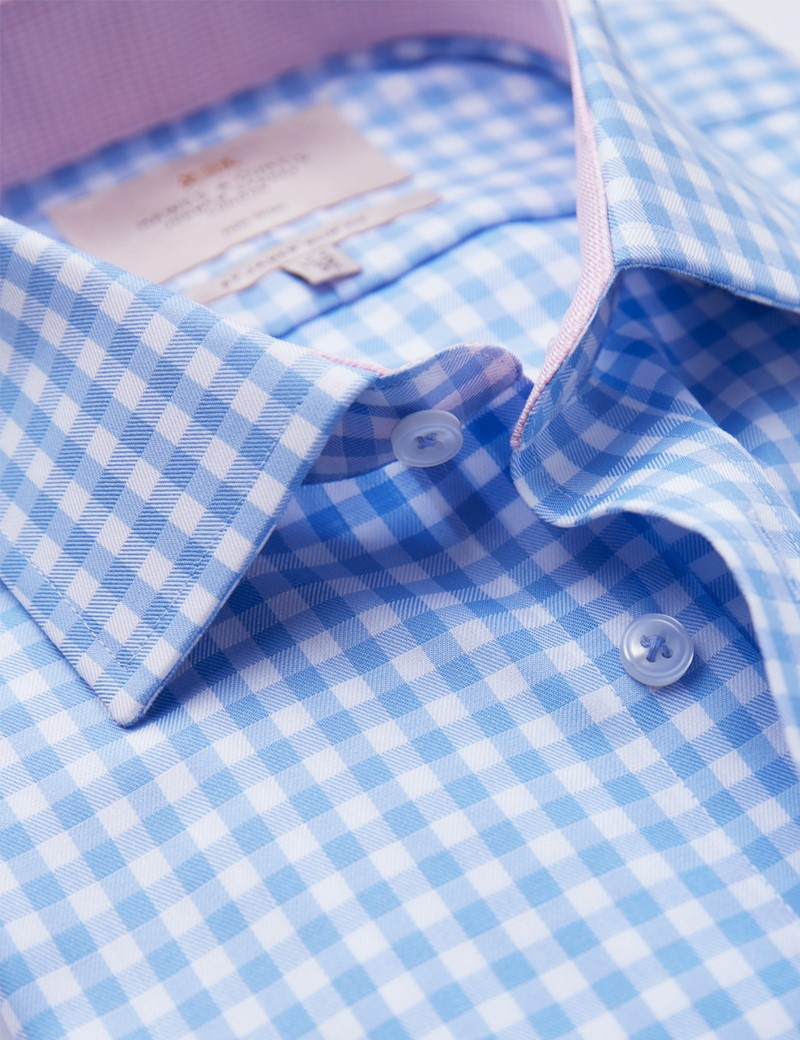 Non Iron Blue & White Bold Check Relaxed Slim Fit Shirt - Semi Cutaway