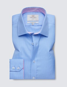 Non Iron Blue & White Dogtooth Relaxed Slim Fit Shirt - Semi Cutaway
