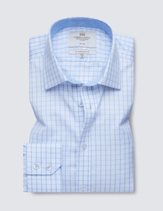 Non Iron Blue & White Textured Check Relaxed Slim Fit Shirt - Semi Cutaway
