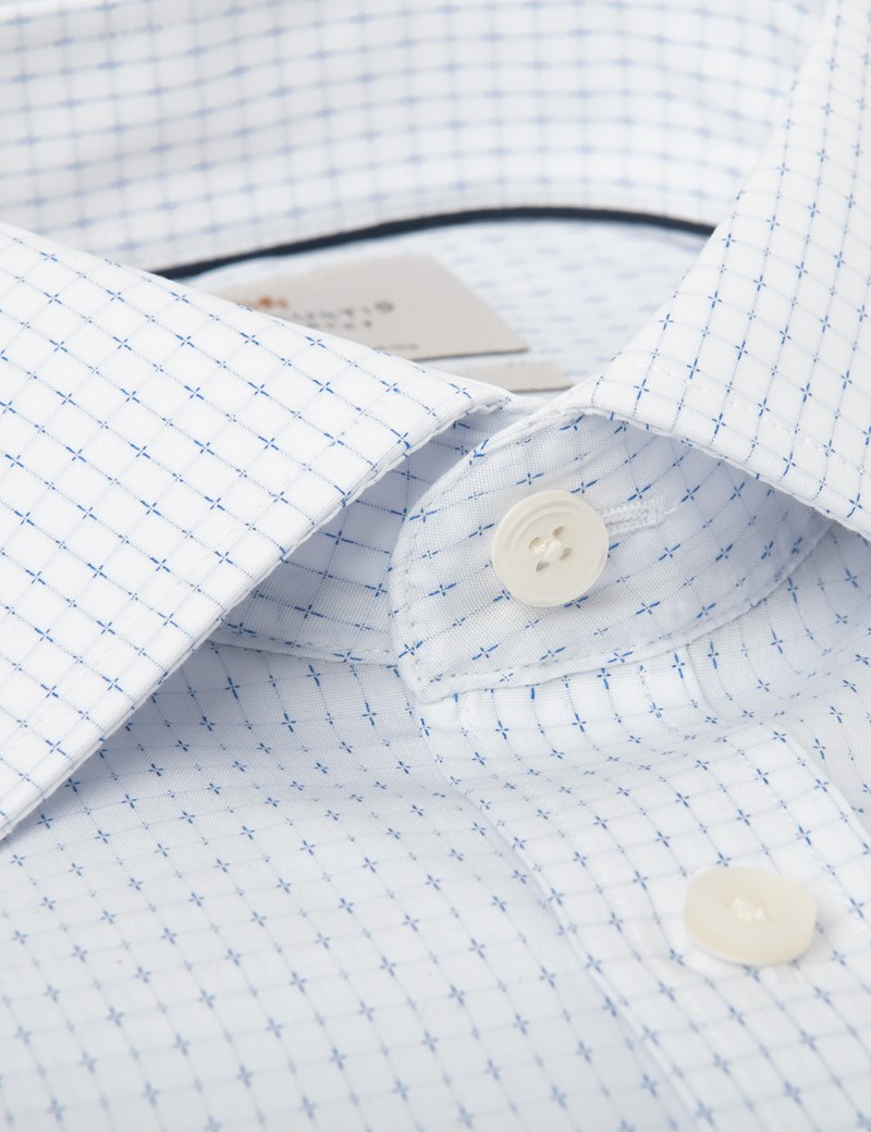 Men's Dress White & Blue Slim Fit Shirt - Single Cuff - Easy Iron