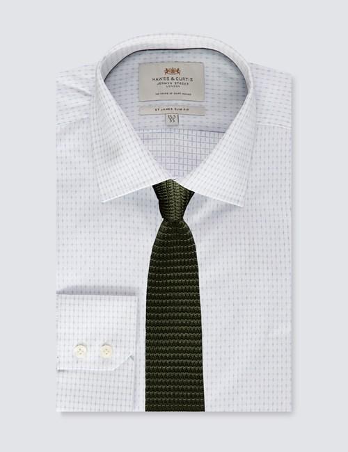 Men's Dress White & Blue Slim Fit Shirt - Single Cuff - Easy Iron