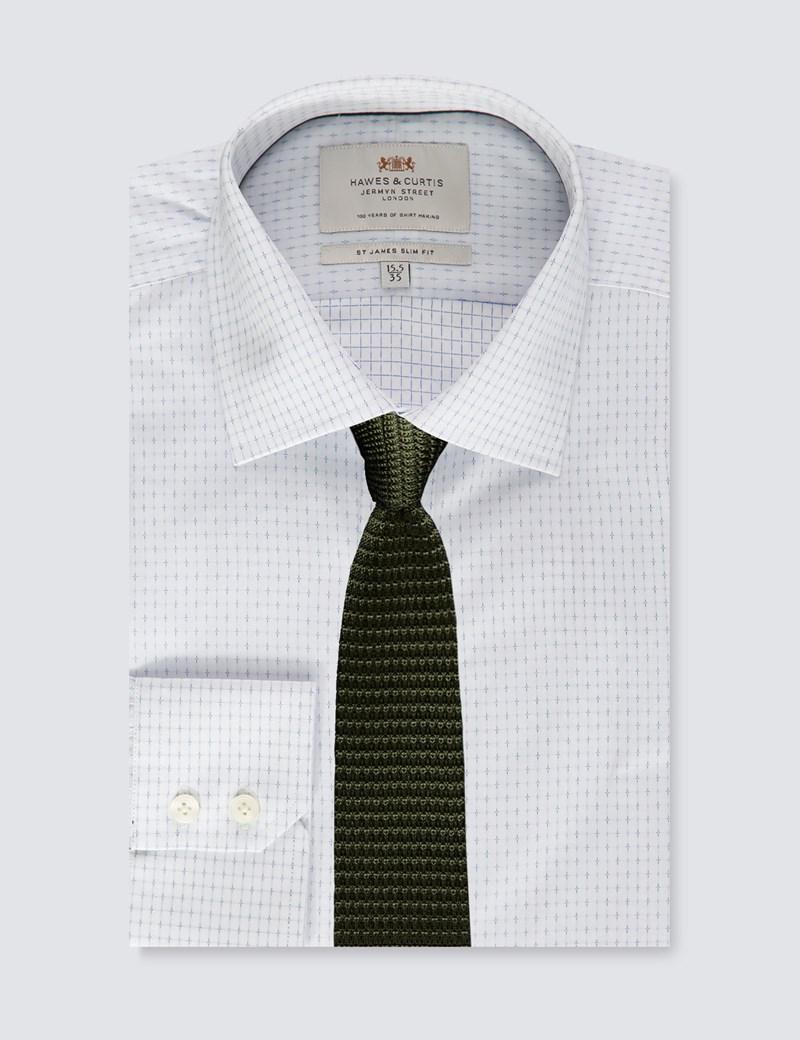 Men's Formal White & Blue Slim Fit Shirt - Single Cuff - Easy Iron