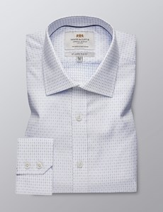 Men's Formal White & Blue Slim Fit Shirt - Single Cuff - Easy Iron
