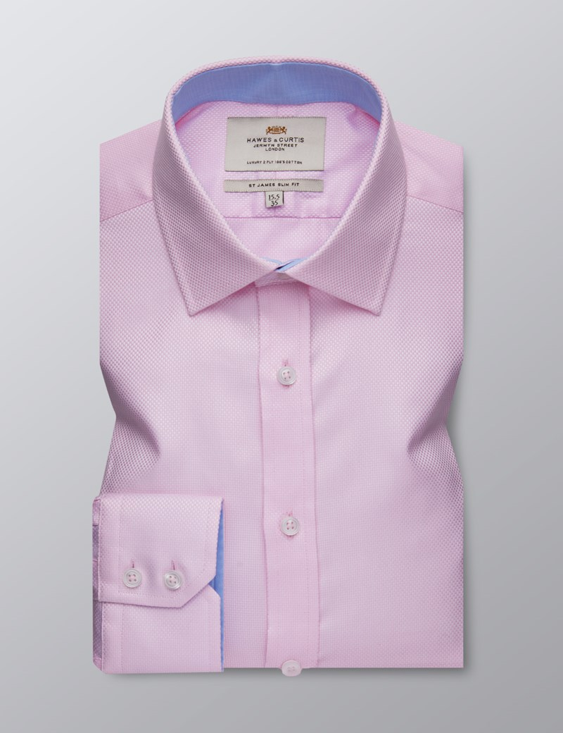 Men's Dress Pink Fabric Interest Slim Fit Shirt - Single Cuff - Easy Iron