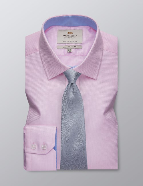 Men's Formal Pink Fabric Interest Slim Fit Shirt - Single Cuff - Easy Iron