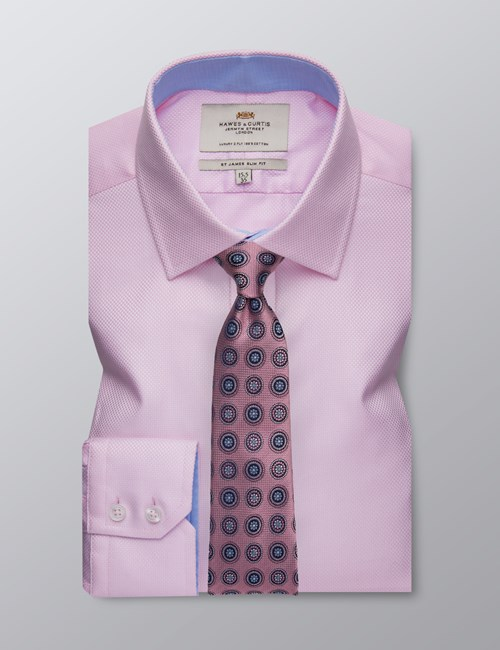 Men's Dress Pink Fabric Interest Slim Fit Shirt - Single Cuff - Easy Iron