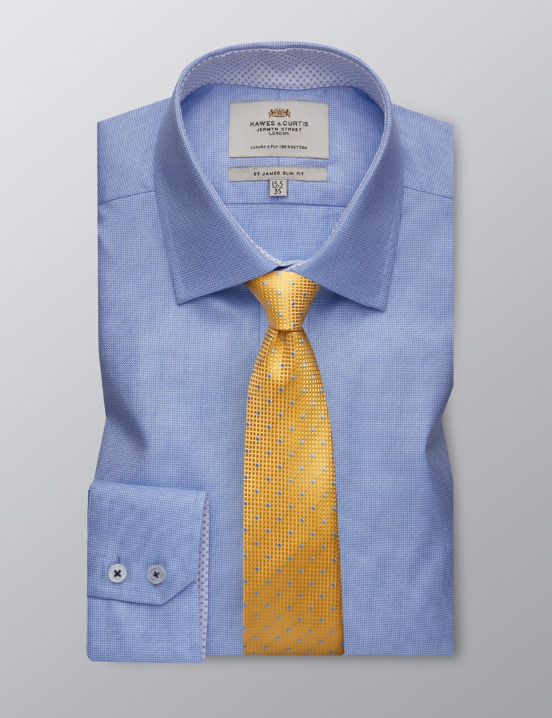 Men's Formal Blue Fabric Interest Slim Fit Shirt - Single Cuff - Easy Iron