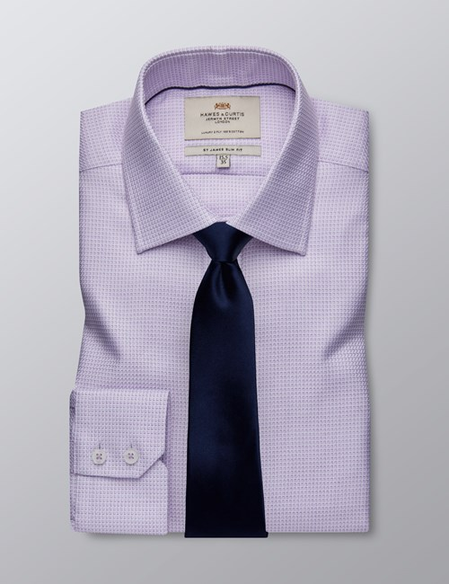 Men's Dress Lilac Slim Fit Shirt - Single Cuff - Easy Iron