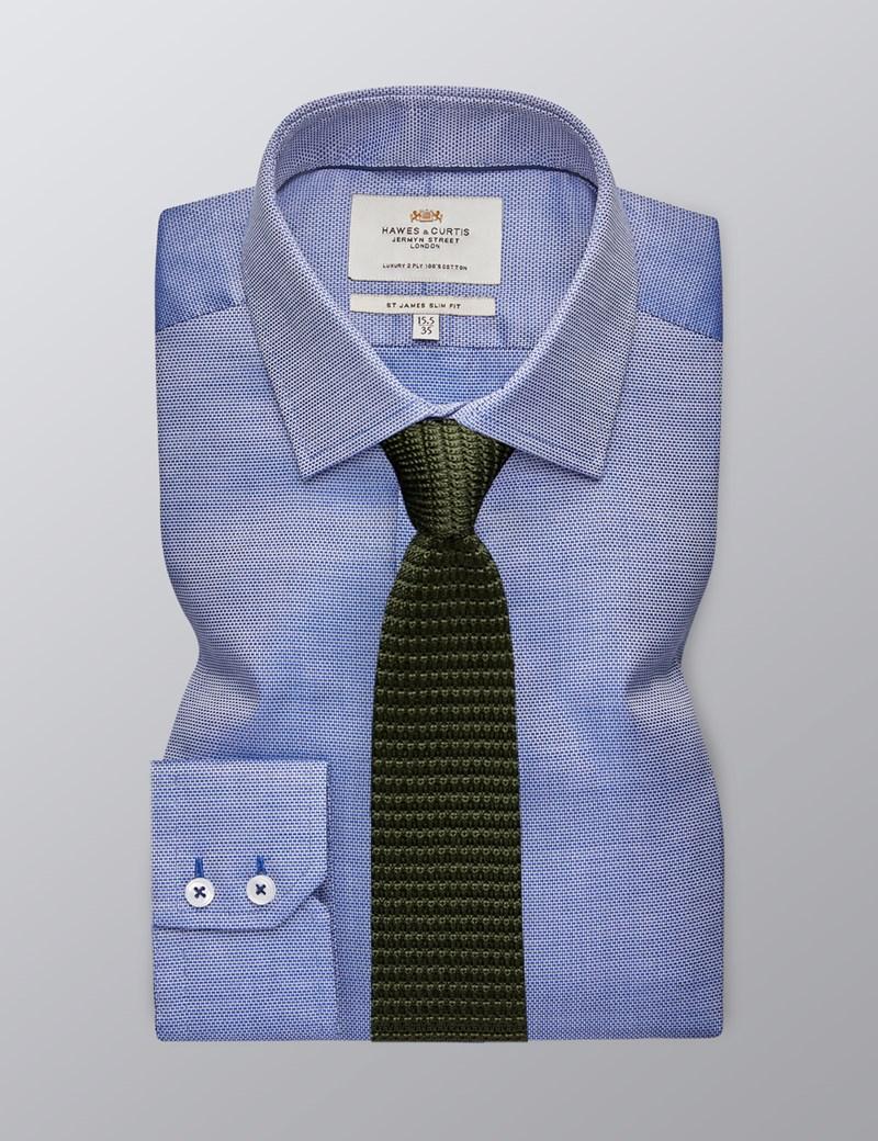 Men's Formal Navy Slim Fit Shirt - Single Cuff - Easy Iron