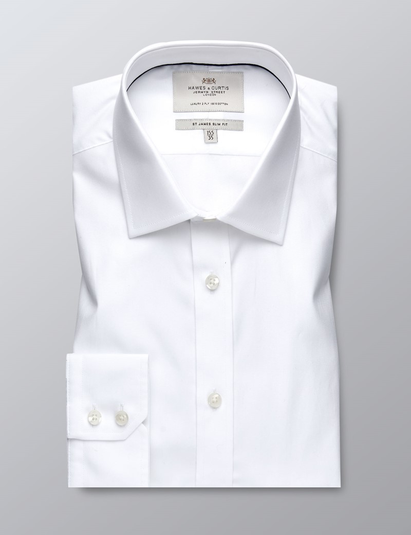 Men's Formal White Poplin Slim Fit Shirt With Contrast Detail- Single Cuff - Easy Iron