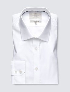 Men's Business White Poplin Slim Fit Shirt With Contrast Detail- Single Cuff - Easy Iron