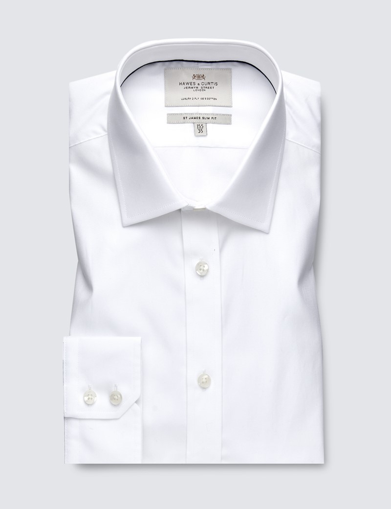 Businesshemd – Slim Fit – Kentkragen – Popeline frisches Weiß