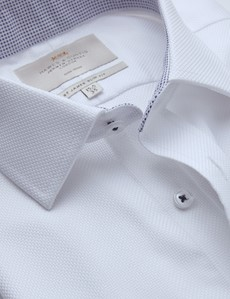 Men's Business White Fabric Interest Slim Fit Shirt with Contrast Detail - Single Cuff - Non Iron