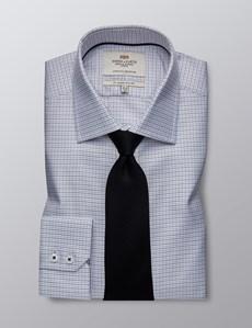 Men's Dress Grey Dobby Slim Fit Shirt - Single Cuff - Easy Iron