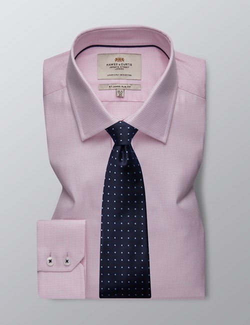 Men's Formal Pink & White Dobby Slim Fit Shirt - Single Cuff - Easy Iron