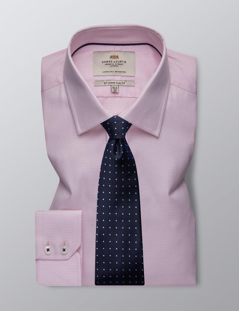 Men's Formal Pink & White Dobby Slim Fit Shirt - Single Cuff - Easy Iron