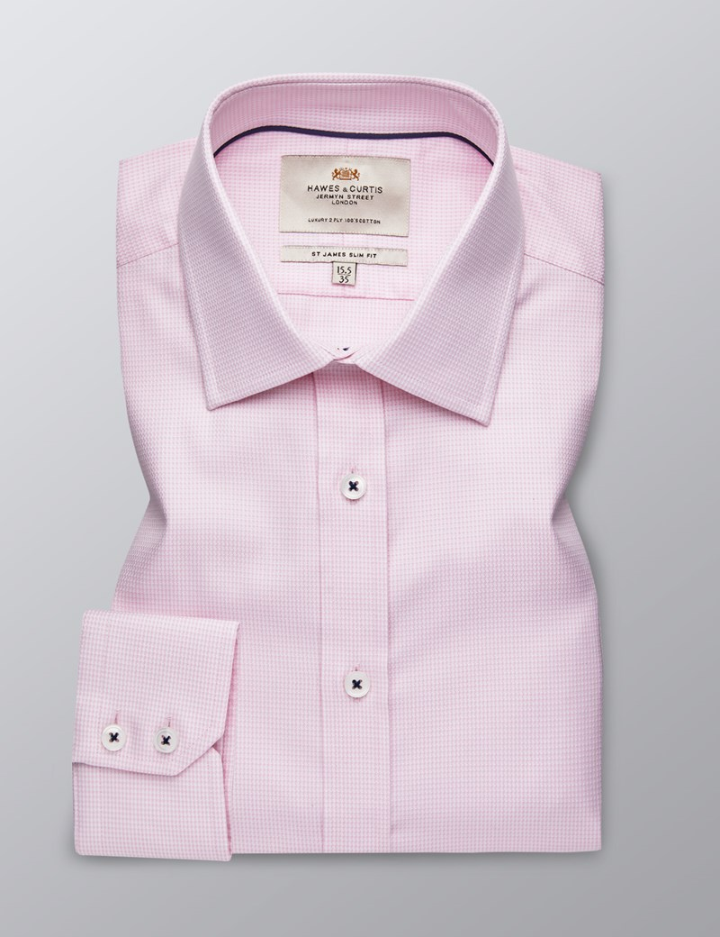 Men's Dress Pink & White Dobby Slim Fit Shirt - Single Cuff - Easy Iron