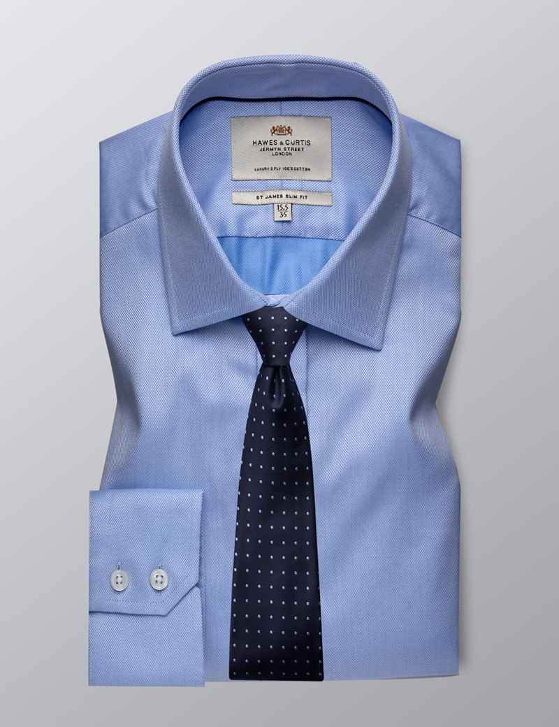 Men's Formal Blue Pique Slim Fit Shirt - Single Cuff - Easy Iron