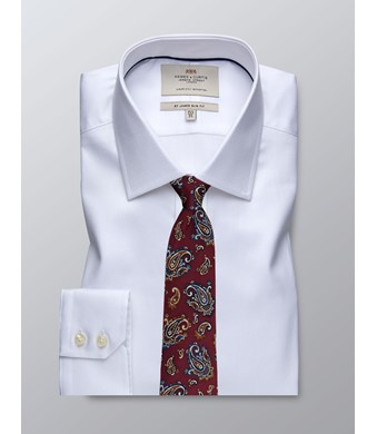 Businesshemd – Slim Fit – Kentkragen – Piqué weiß
