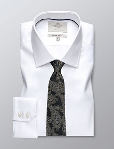 Men's Dress White Pique Weave Slim Fit Shirt - Single Cuff - Easy Iron