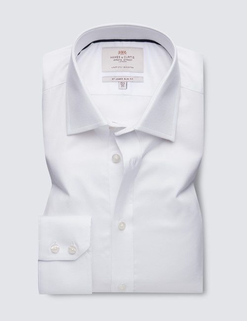 Men's Business White Pique Weave Slim Fit Shirt - Single Cuff - Easy Iron