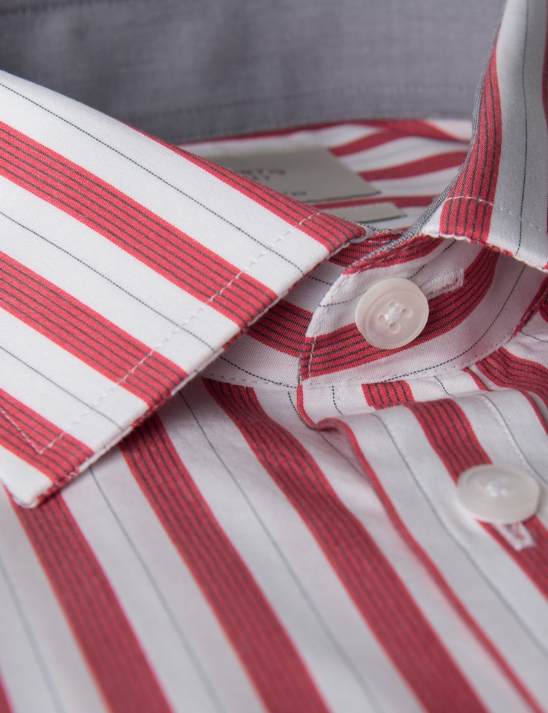 Men's Red & White Bold Stripe Slim Fit Dress Shirt With Contrast Detail- Single Cuff - Easy Iron