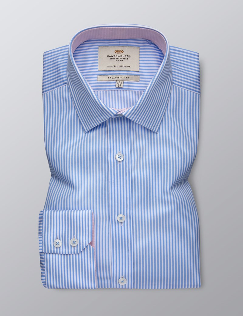 Men's Dress Blue & White Bengal Stripe Slim Fit Shirt - Single Cuff - Easy Iron