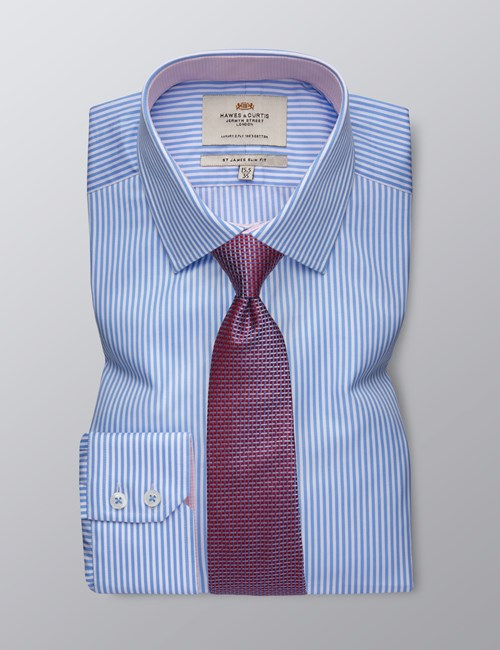 Men's Formal Blue & White Bengal Stripe Slim Fit Shirt - Single Cuff - Easy Iron