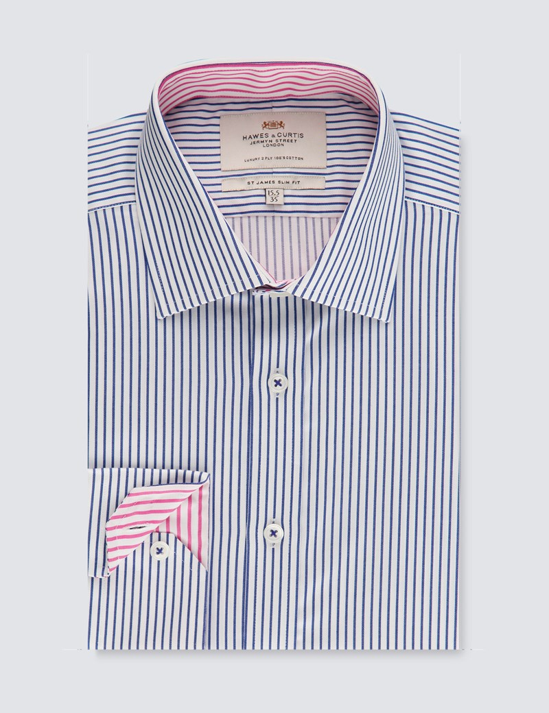 Men's Dress Blue & White Bi Coloured Stripe Slim Fit Shirt - Single Cuff - Easy Iron