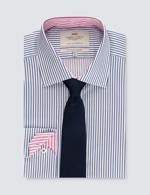 Men's Business Blue & White Bi Coloured Stripe Slim Fit Shirt - Single Cuff - Easy Iron