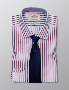 Men's Dress Red & Navy Multi Stripe Slim Fit Shirt With Contrast Detail - Single Cuff - Easy Iron