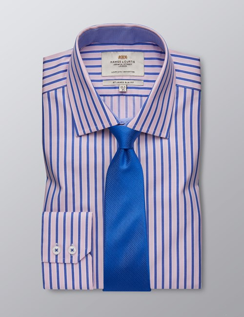 Men's Business Blue & Pink Multi Stripe Slim Fit Shirt With Contrast Detail - Single Cuff - Easy Iron