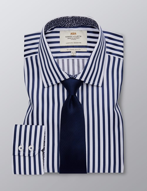Men's Formal Navy & White Bengal Stripe Slim Fit Shirt - Single Cuff - Easy Iron