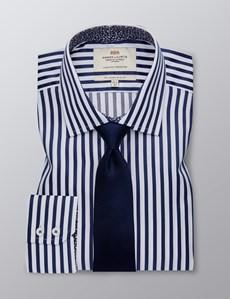 Men's Dress Navy & White Bengal Stripe Slim Fit Shirt - Single Cuff - Easy Iron