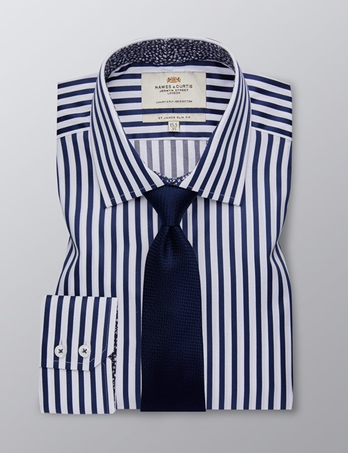 Men's Dress Navy & White Bengal Stripe Slim Fit Shirt - Single Cuff - Easy Iron