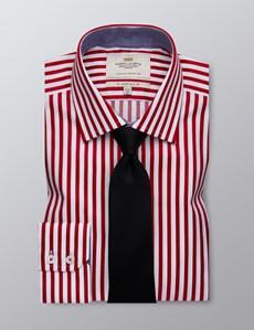 Men's Formal Deep Red & White Bengal Stripe Slim Fit Shirt - Single Cuff - Easy Iron
