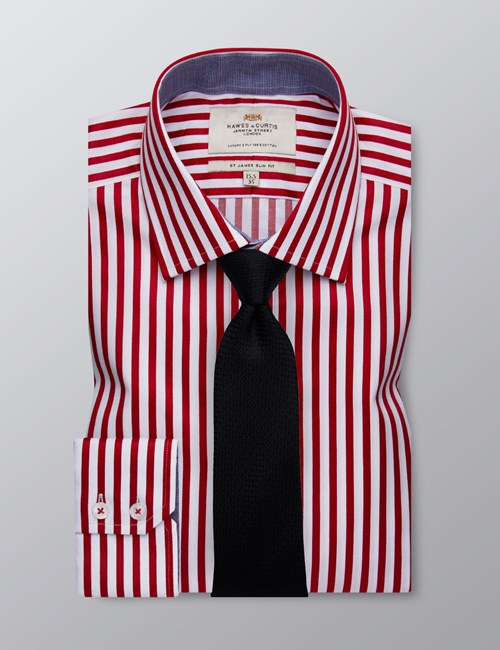 Men's Business Deep Red & White Bengal Stripe Slim Fit Shirt - Single Cuff - Easy Iron