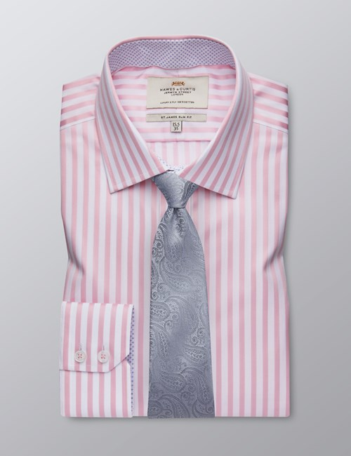 Men's Formal Pink & White Bengal Stripe Slim Fit Shirt - Single Cuff - Easy Iron