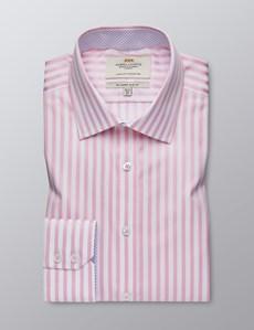 Businesshemd – Slim Fit – Kentkragen – Weiß & rosa gestreift