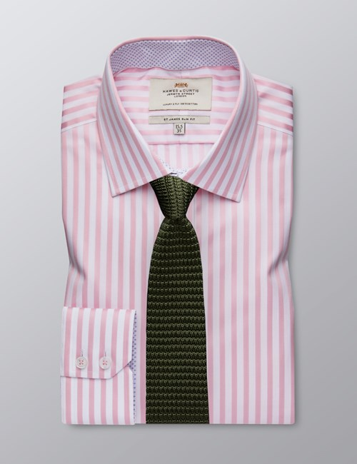 Men's Dress Pink & White Bengal Stripe Slim Fit Shirt - Single Cuff - Easy Iron