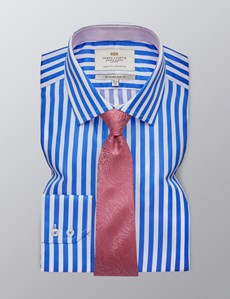 Men's Formal Blue & White Bold Stripe Slim Fit Shirt - Single Cuff - Easy Iron