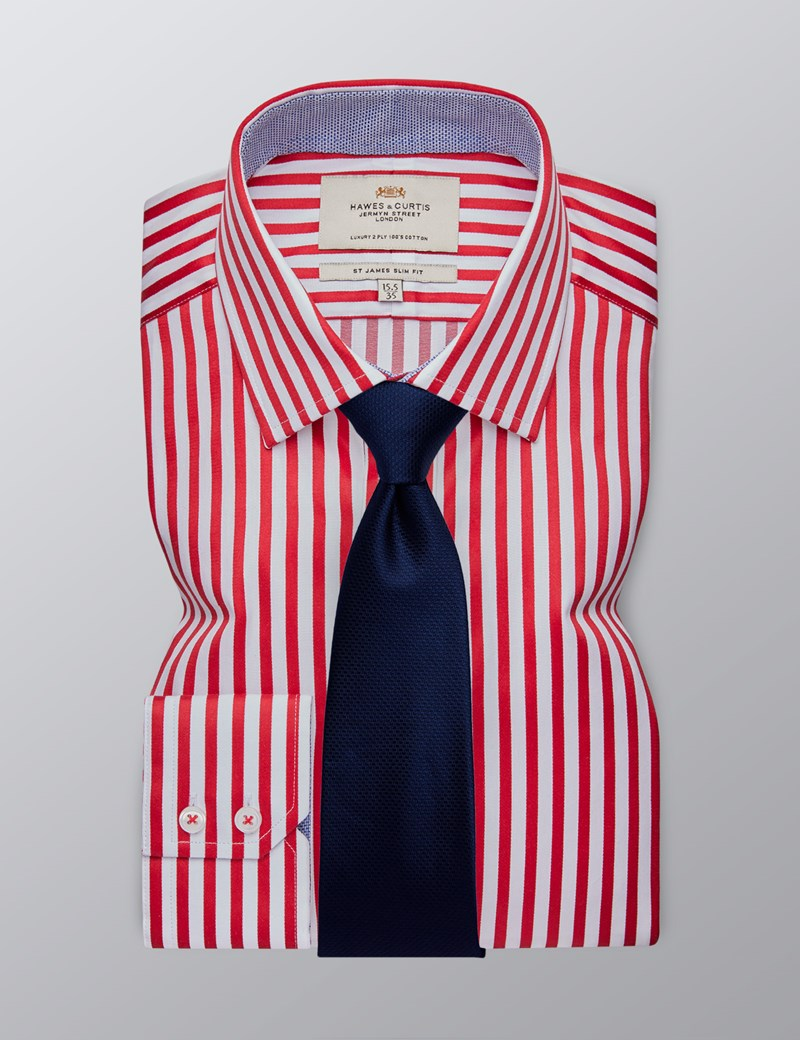 Men's Dress Red & White Bengal Stripe Slim Fit Shirt - Single Cuff - Easy Iron