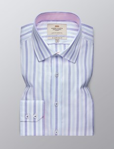 Men's Dress White & Blue Multi Stripe Slim Fit Shirt - Single Cuff - Easy Iron