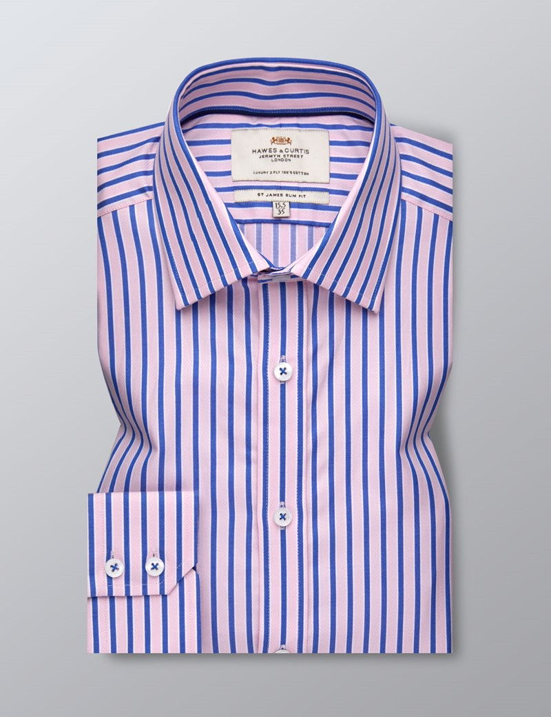 Men's Business Pink & Light Blue Bold Stripe Slim Fit Shirt - Single Cuff - Easy Iron