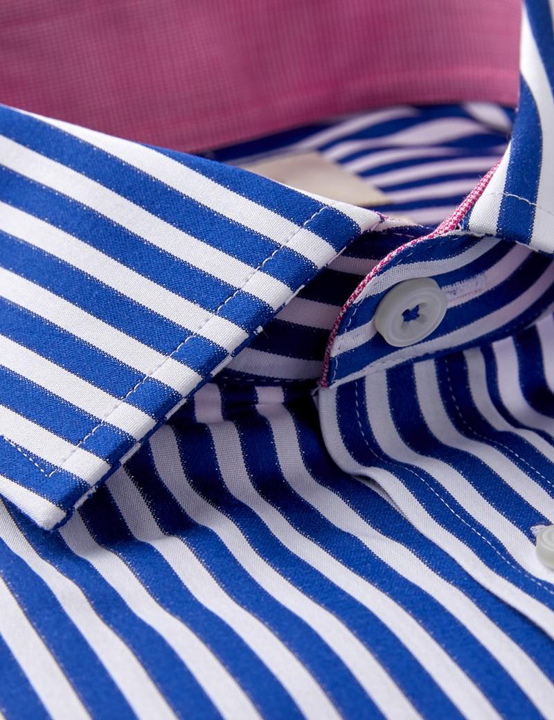 Men's Business Navy & White Bengal Stripe Slim Fit Shirt - Single Cuff - Easy Iron