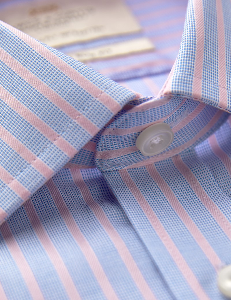 Men's Formal Blue & Pink Stripe Slim Fit Shirt With Contrast Detail - Single Cuff - Easy Iron