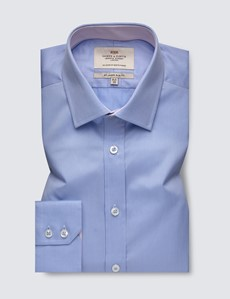 Men's Business Blue & White Fine Stripe Slim Fit Shirt With Contrast Detail and Single Cuffs - Easy Iron